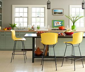 Yellow bar stools will create a bold statement in your kitchen.