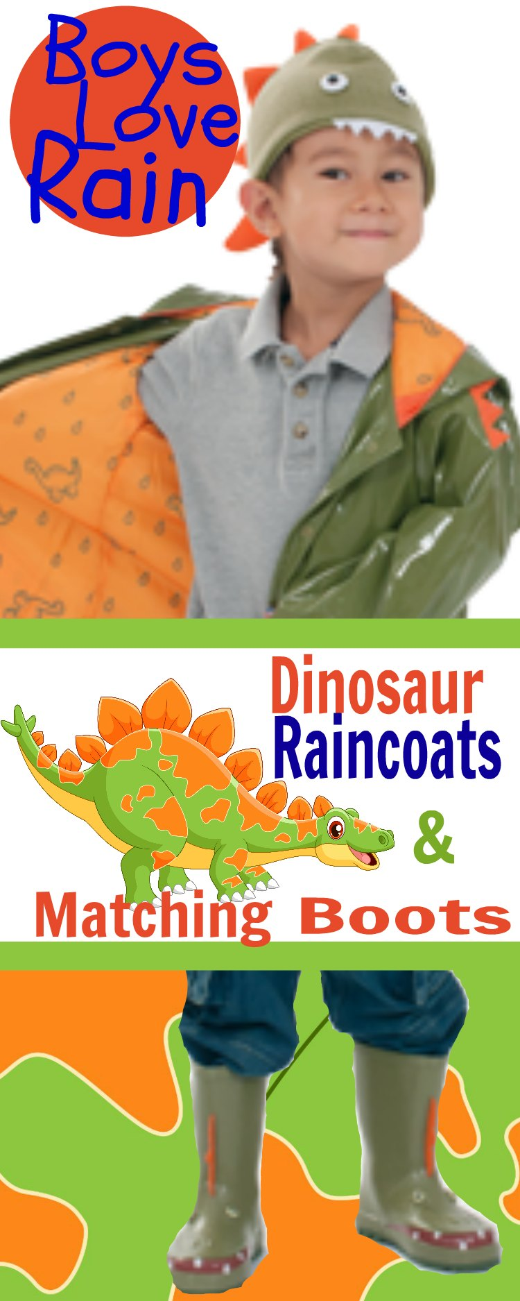 Dinosaur Children Raincoats with Matching Boots