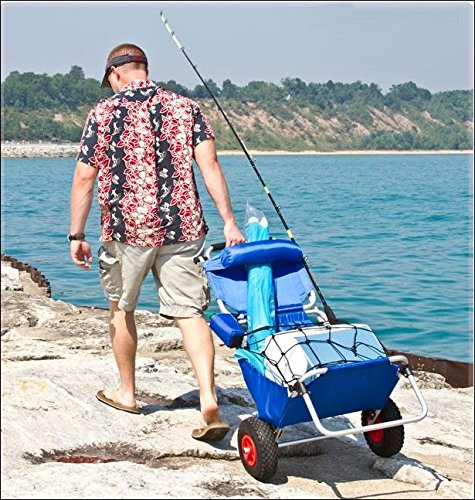 Folding Fishing Chair with fishing rod bite alarm. Great for the BEACH too. Converts to dolly or cart. Big rubber wheels make it easy to pull or push over sand, grass & gravel. Great Fisherman Gift!