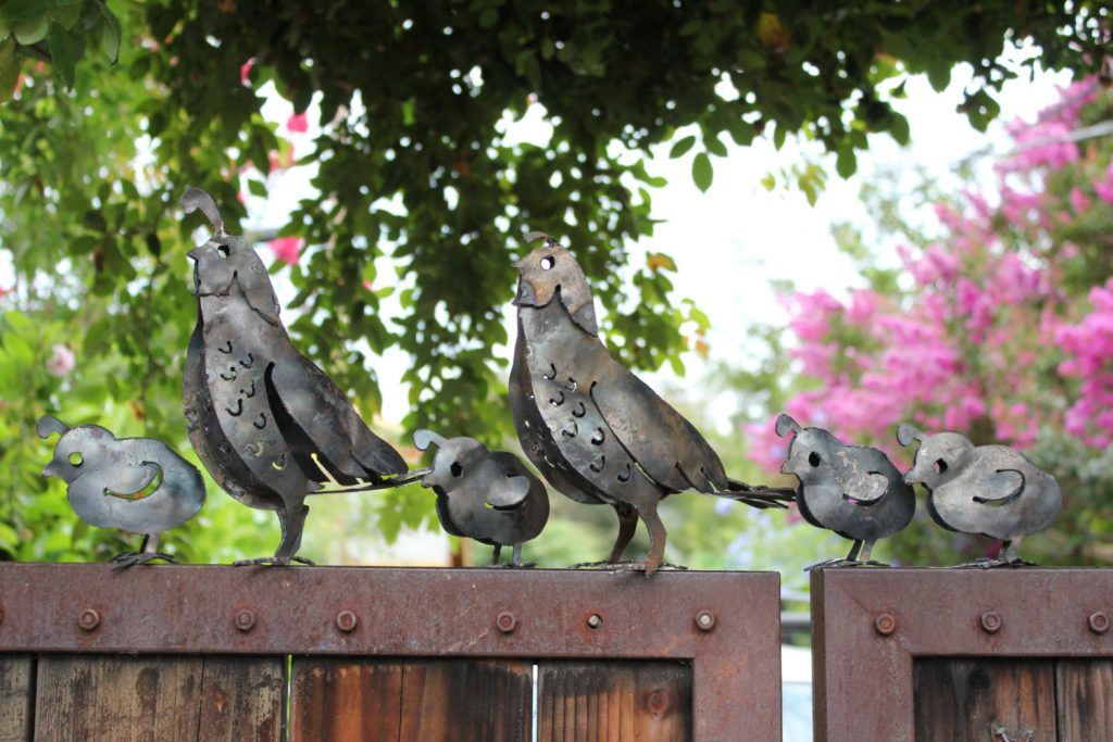 Metal Garden Bird Sculptures Quail