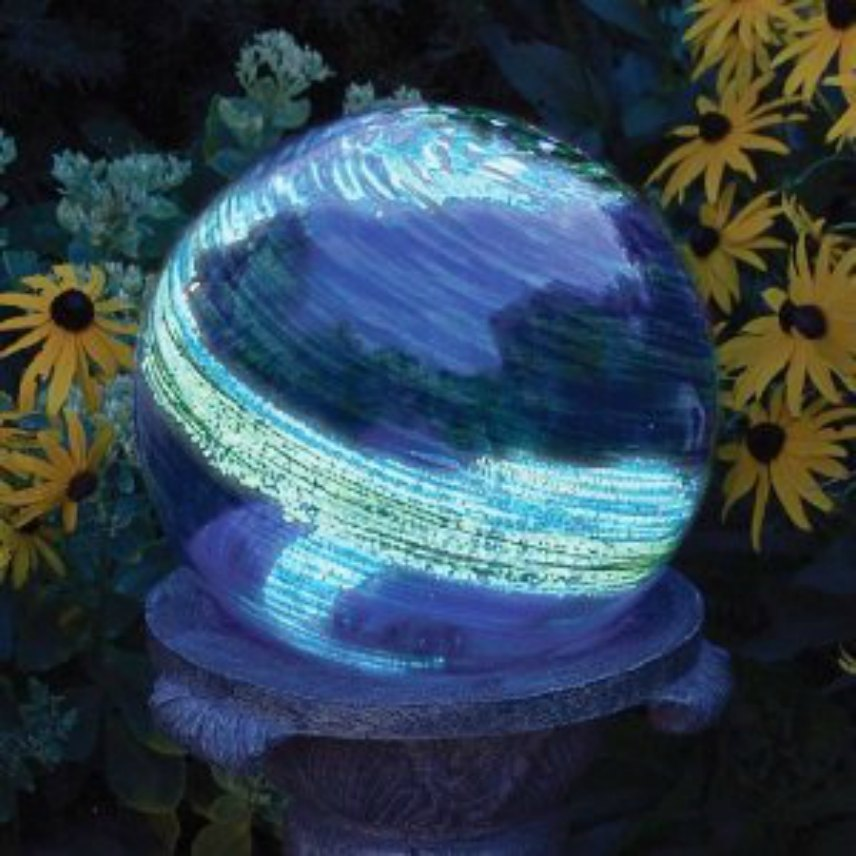 Solar Powered Yard Art   Blue Swirl Globe