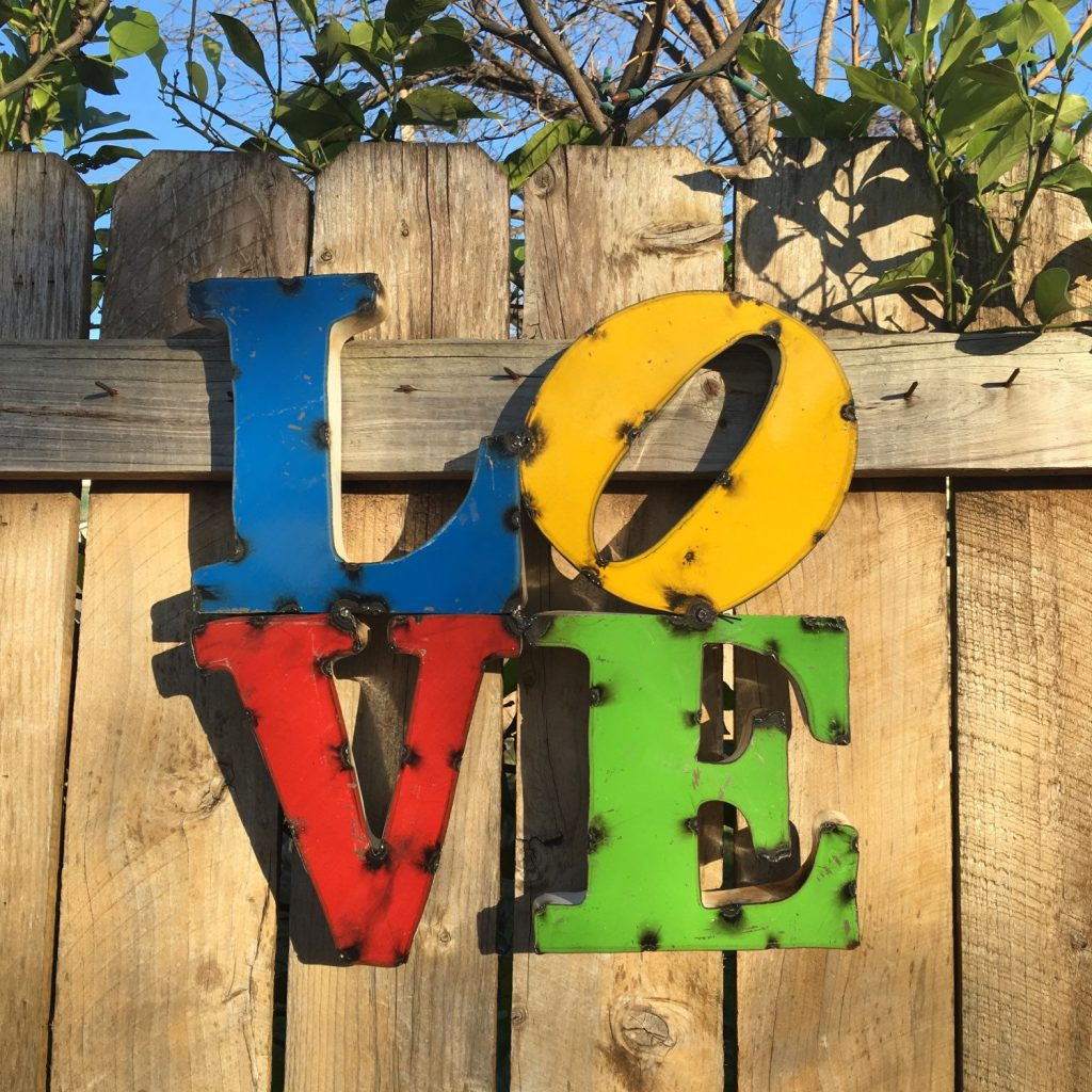 Welded Metal Garden Sculpture Signs - LOVE
