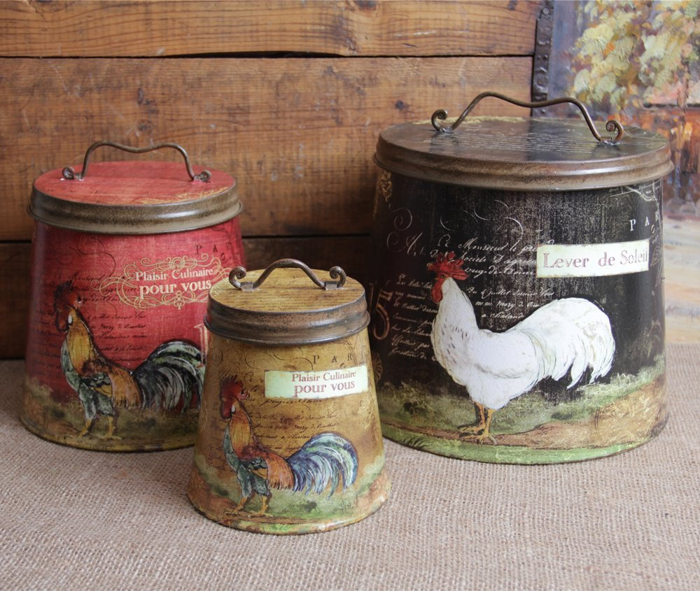 Rooster canister sets for sale - Kitchen rooster decor ...