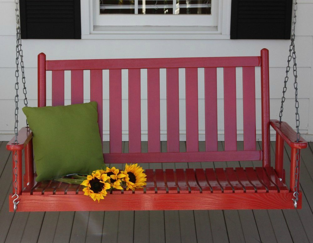 Red Patio And Porch Swing