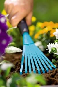 blue hand rake