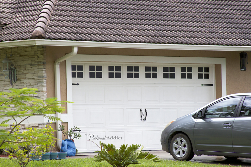 Diy creating a faux carriage garage door trendy update for Build carriage garage doors