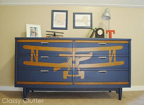 DIY Vintage Biplane Stenciled Dresser: Instructions Inside