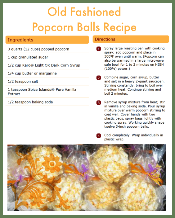 Old Fashioned Popcorn Balls Recipe