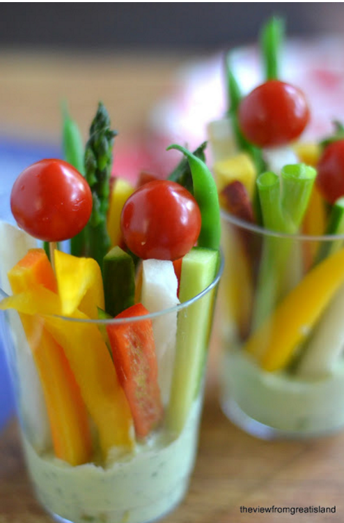 Green Goddess Veggie Dip Cups are Easy Movie Night Snacks