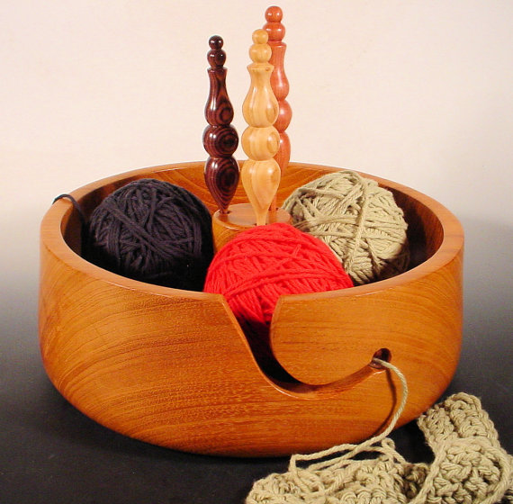 Wooden Crochet Bowl with Hook Holders