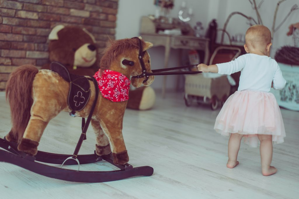 Drag your Stuffed Animal Rocking Horse all over the house